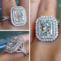 4 Carat Radiant Cut Double Halo #Capri #Jewelers #Arizona ~ www.caprijewelersaz.com ♥