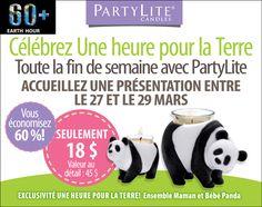 Hôtes/esses pour les 27 au 29 Mars 2015 Obtenez la maman et bébé PANDA pour seulement 18$ contactez moi pour les détails www.partylite.biz/marcelrobidoux Mars, Panda, Promotion, Facebook, Earth, March, Pandas, Panda Bear, Mars Symbol