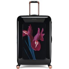 Women's Ted Baker London 'Large Stencilled Stem' Four Wheel Suitcase (1.575 BRL) ❤ liked on Polyvore featuring bags, luggage, suitcase and black