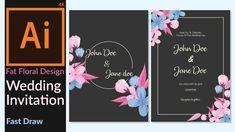 Wedding Invitation Card designing in adobe illustrator CC - Minimalist F...