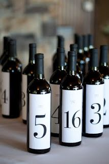 Wine Bottle Table Markers - i like this idea but with prettier numbers/paper