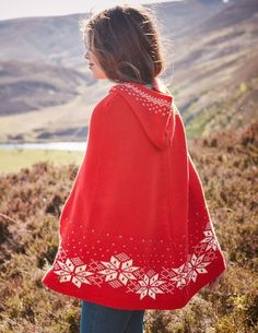 Fair Isle Knitted Poncho 31925 Sweaters at Boden