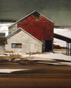 "2009, Red and White by Joseph Alleman Watercolor ~ 26.5"" x 21"""