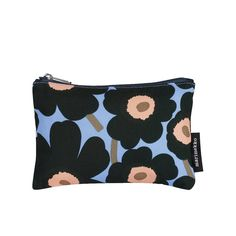 Marimekko Blue and Green Unikko Flower Makeup Bag - Trouva Flower Makeup, Marimekko, Coin Purse, Mini, Purses, Wallet, Cotton, Bags, Fashion