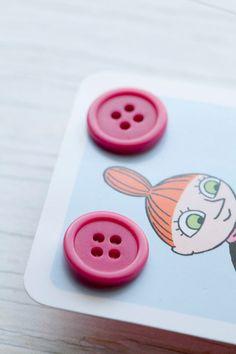 Dark fuchsia button earrings - I love how they are carded on a card! so creative.
