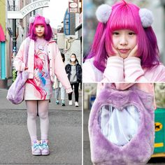 21-year-old NukoNuko on the street in Harajuku wearing a pink stadium jacket from Spinns over a galaxxxy x Papillon Rose dress, Swimmer sneakers, and a WEGO plush bag.