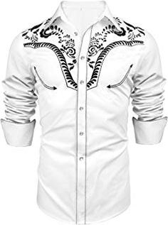 JINIDU Western Cowboy Embroidered Denim Long Sleeve Button Down Shirt