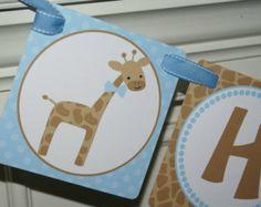 Boy Giraffe Happy Birthday Banner (Blue & Brown) by The Party Paper Fairy Giraffe Happy Birthday, Giraffe Party, Baby Boy 1st Birthday, Happy Birthday Banners, First Birthday Parties, First Birthdays, Birthday Ideas, Cricut Banner, Baby On The Way