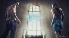 Conceptual image of a young couple stepping into the window light - Stock , Young Couples, Sequin Skirt, Ballet Skirt, Stock Photos, Image, Dresses, Learning, Mantra, Relax