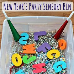 New Year's Party Sensory Bin Activity for Preschoolers