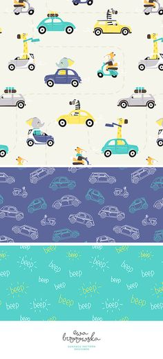 Surface pattern design with animals in cars. Textile design for boys in vibrant colors.
