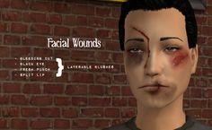 ModTheSims - Four Layerable Facial Wounds