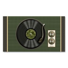 Vintage Vinyl Record (green) Social Profile Card Business Card Template