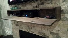 Mantel hiding cable box and DVD # fireplace with tv above, Above Fireplace Ideas, Tv Over Fireplace, Home Fireplace, Fireplace Remodel, Living Room With Fireplace, Fireplace Design, Fireplace Mounted Tv, Fireplaces, Fireplace Mantels
