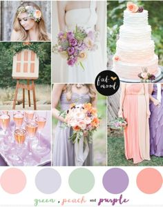 Purple green and peach wedding – Purple green and peach wedding : Fresh floral headband : Retrospect Images | pretty peach macaroon cake by ficitlis photo by Anna Totten | peach and purple bridesmaid bouquet , wedding cake,peach and purple bridesmaids dresses : weddingchicks | peach drink : brides |