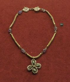 Gold with amethysts and unknown semiprecious stones. From the Museum of Mediterranean and Near Eastern Antiquities. Photo by Neathery Fuller Byzantine Gold, Byzantine Jewelry, Renaissance Jewelry, Medieval Jewelry, Ancient Jewelry, Old Jewelry, Tribal Jewelry, Jewelry Art, Antique Jewelry