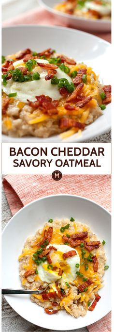 Bacon Cheddar Savory Oatmeal: A necessary change on the sweet oatmeal that so many people love. This version has deep flavor and is pretty quick to make. Crunchy bacon, gooey cheddar cheese, and a perfect soft egg. Breakfast is ready. | macheesmo.com