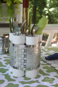 PVC Pipe Centerpiece. Place utensils or flowers in the pipes for a party. http://hative.com/diy-pvc-pipe-storage-ideas/