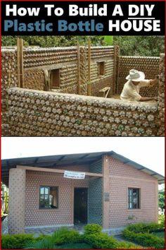 Plastic Bottle House, Reuse Plastic Bottles, Plastic Bottle Crafts, Recycled Bottles, Recycled House, Earthship Home, Bottle Wall, Earth Homes, Natural Building