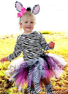 Custom Boutique Zebra tutu set Halloween costume birthday parties Photo shoot 12 18 months 2t 3t 4t 5t 6. $85.00, via Etsy.