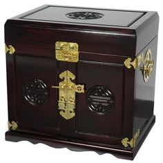 Rosewood Oriental Jewelry Box with Five Drawers - OrientalFurniture.com