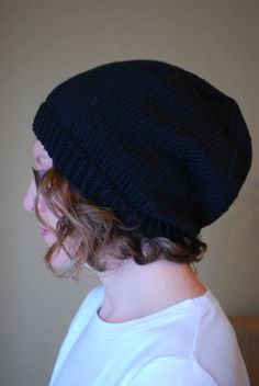 Knit Adult Winter Slouch Hat Organic Cotton by yomamaorganics