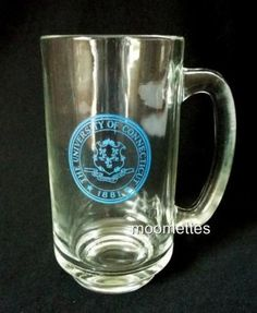 University of Connecticut Glass Mug Beer Stein UCONN Huskies 12 Oz