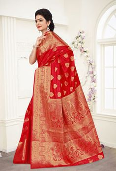 Buy Viva N Diva Red Colored Banarasi Silk Saree 21108 online at best prices. Get discount on Silk Sarees, Sarees with home delivery from Fashionnow.