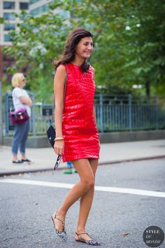 Red Leather Dress Miu Miu Street Style