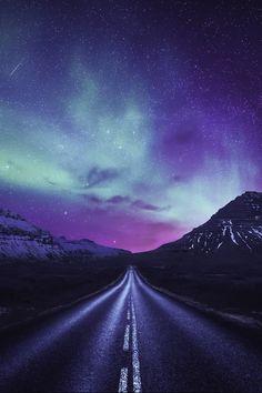 Driving towards the shining lights, Alaska | Dominic Kamp