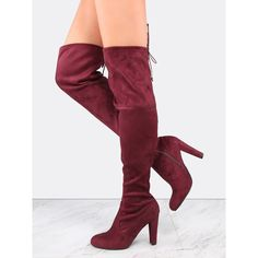 Faux Suede Tie Back Thigh Boots BURGUNDY ($38) ❤ liked on Polyvore featuring shoes, boots, burgundy, side zipper boots, side zip boots, faux suede boots, over knee boots and above knee boots