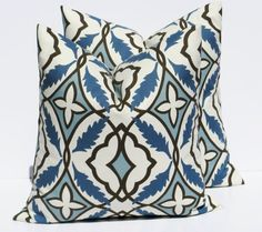 Throw Pillow Covers 16x16 Blue Gray Pillow Set of TWO Dark Blue Pillow Floral Leaf  Blue Cream Gray Printed Fabric both sides cushion Cover