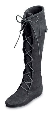 Minnetonka Men's Black Suede Knee Hi Front Lace Hardsole  Fringe Boot.    Product # 1929    Soft, supple suede leather knee-high boot with fringe accenting the top and whip-stitching detail around the toe. Lace up the front with genuine rawhide laces that tie at the top. Cushioned insole for comfort and lightweight crepe sole for durability.    Color: Black Suede  Height: 18 inches    Sizes: 6, 7, 8, 9, 10, 11, 12, 13