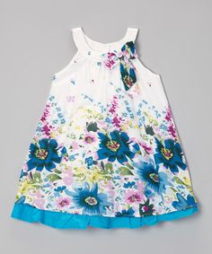 Love this Blue & White Floral Ruffle Yoke Dress - Toddler & Girls by Paulinie on #zulily! #zulilyfinds