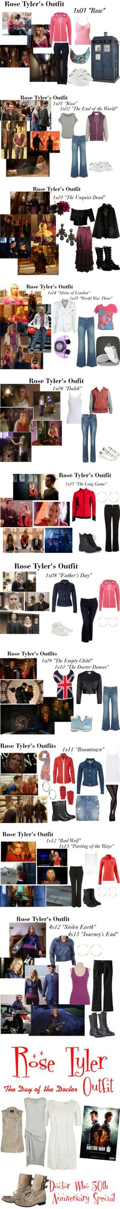 Rose Tyler's Outfits by erulisse17 on Polyvore featuring Sansha, GUESS, adidas, 1x01, episode one, doctor who, season one, rose, rose tyler and costume