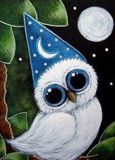 Art: TINY WHITE OWL - HE IS A WIZARD by Artist Cyra R. Cancel