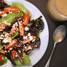 Honey Balsamic Dressing! This delicious version calls for only half the oil of regular dressing recipes, lowering the fat content without sacrificing flavor!