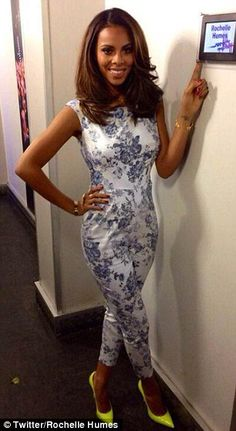 6b40cd859e8 Rochelle Humes looks chic in a kaleidoscope effect dress