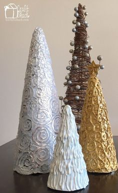 Styrofoam Cone+HotGlue+Foil=Christmas Trees for desktops! Cone Christmas Trees, Christmas Tree Crafts, Beautiful Christmas Trees, Christmas Countdown, Homemade Christmas, Rustic Christmas, Xmas Tree, Christmas Projects, Holiday Crafts