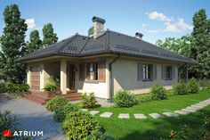 Amazing Stunning SPHINX Energy-efficient One-storey House Construction cost: Usable area: m 2 An energy-efficient one-storey house, with a terra. Gazebo, Pergola, One Storey House, Construction Cost, Atrium, Exterior Design, Mid-century Modern, House Plans, Sweet Home