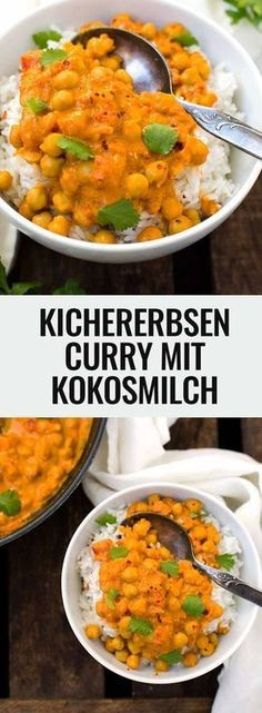 Chickpea curry with coconut milk - 30 minutes and delicious - cooking carousel-Kichererbsen-Curry mit Kokosmilch – 30 Minuten und super lecker – Kochkarussell Chickpea curry with coconut milk. Veggie Recipes, Indian Food Recipes, Pasta Recipes, Vegetarian Recipes, Cooking Recipes, Healthy Recipes, Cooking Ribs, Menu Dieta, Clean Eating