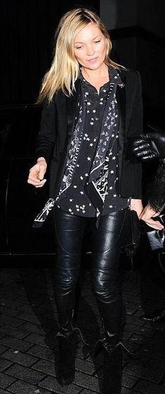 Kate Moss in the Equipment Slim Signature in black star print.
