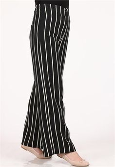 Brn Çizgili Uzun Pantolon Modelleri Siyah Tesettür modelleri 1102