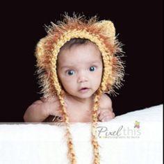 Baby lion crochet hat
