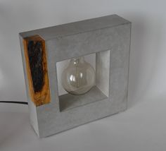 Large Handmade Concrete and Wood Table Lamp #ConcreteLamp