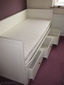 Ikea Hemnes Day Bed Frame With 2 Mattresses, Used Beds & Bedroom Stuff For Sale in Coolock, Dublin, Ireland for euros on Adverts. Hemnes Day Bed, Box Room Bedroom Ideas, Day Bed Frame, White Room Decor, Dorm Room Designs, Diy Furniture Bedroom, Tiny Bedroom Design, Room Ideas Bedroom, Daybed Room