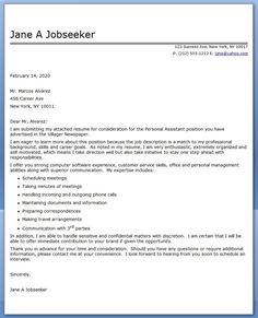 personal assistant cover letter sample