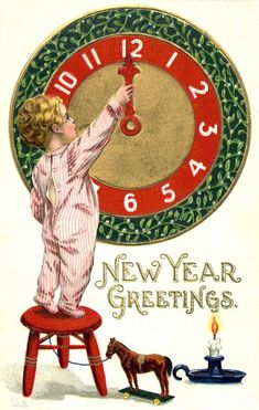 Vintage New Year Greetings Postcard. Kid In PJs Setting Clock Postcard Signed Wall S. Vintage Happy New Year, Happy New Year Images, Happy New Year Cards, Happy New Year 2019, New Year Wishes, New Year Greetings, Christmas Greetings, Vintage Greeting Cards, Vintage Christmas Cards