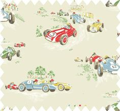 cath kidston vintage race car print :: available in cotton duck cloth and oilcloth