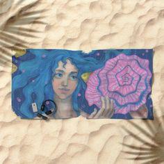 """Listening to the Sea"", Little Mermaid, Underwater Fantasy Art, Pink & Blue…"